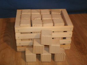 """36 wooden toy blocks 1 1/2"""" unfinished pine with crate"""