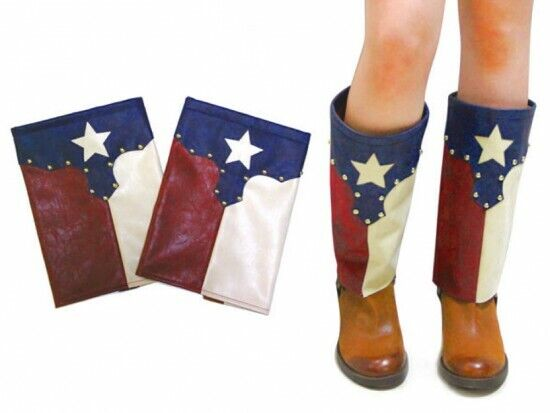 Texas Flag Western Women Boots Cover Toppers Pair Long Faux Leather Slip On