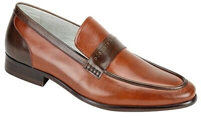Men's Dress shoes Slip On Loafers Cognac/Ch. Brown Leather GIOVANNI CRISPINO