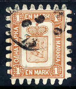 FINLAND-1867-1-Mk-brown-white-roulette-III-used