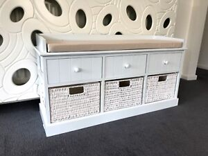 White-Storage-Bench-Wicker-Drawers-Hallway-Bedroom-Two-Seater-Wood-w-Cushion