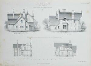 1868-Architektonisch-Aufdruck-Kingsmuir-Huette-David-Cousin-Elevation-Teil