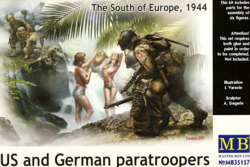 MB Masterbox US German Paratroopers Deutsche Fallschirmjäger sehen Frauen 1:35