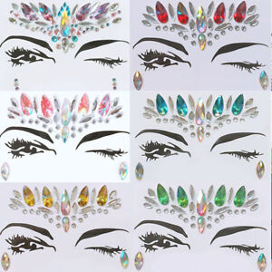 eda56f415f Details about Face Eye Jewels Acrylic Resin Rhinestone Body Art Stickers  Temporary Tattoo Prom