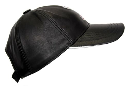 BASEBALL CAP BLACK AND RED NUMBER 1 REAL SOFT LEATHER HIP HOP HAT UNISEX