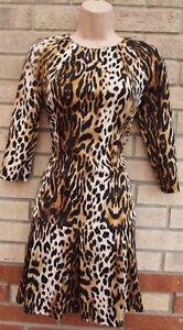 Primark-Schwarz-Braun-Animal-Print-Leopard-Langarm-A-Linie-Partykleid-8-S