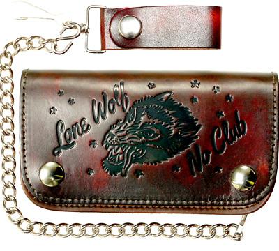Lucky 13 brand Belt Embossed Leather NO CLUB LONE WOLF Tattoo Rockabilly Biker