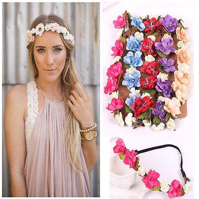 Women Handmade Flower Crown Wedding Wreath Bridal Headdress Headband Hairband