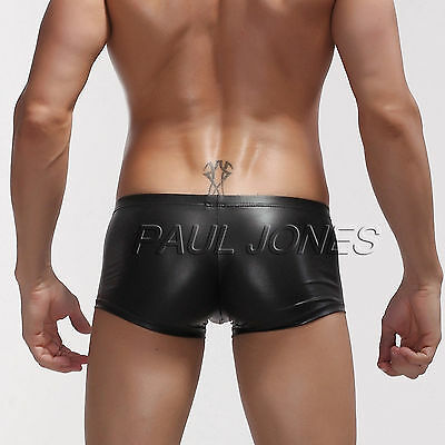 HOT Sexy Men's Male Comfy Faux Leather Underwear Boxer briefs Underpants Sz S~L