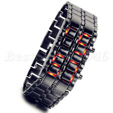 Men's Lava Iron Samurai Metal LED Faceless Bracelet Electronic Wrist Watch New