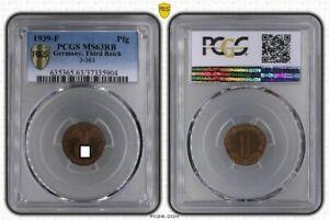 1 Pfennig 1939 F J.361 Mint State PCGS MS63 RB (36853)