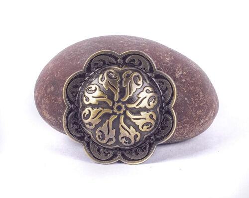 5pc 38*38MM gothique celtique gravé fleur Laiton Antique Nickel Conchos Screwback