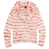 Nii Womens Casual Vintage Striped Zip Up Jacket Loose Fit Pink Size S/m