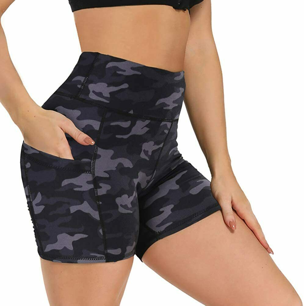 TOREEL Biker Shorts for Women with Pockets 8 2 Pack High Waisted Workout Shorts for Women Athletic Running Shorts