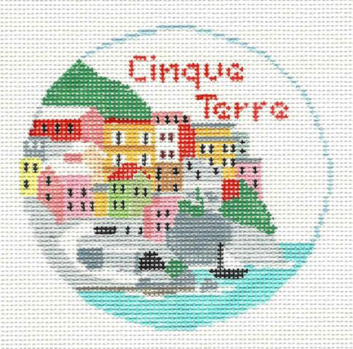 Cinque Terre ITALIAN Riviera handpainted Needlepoint Canvas ~ Kathy Schenkel RD.