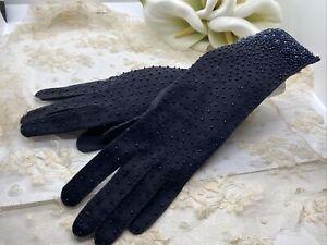 Stunning-Vintage-Beaded-Opera-Length-Gloves-Iridescent-Beads-Formal-1950s-Gorg