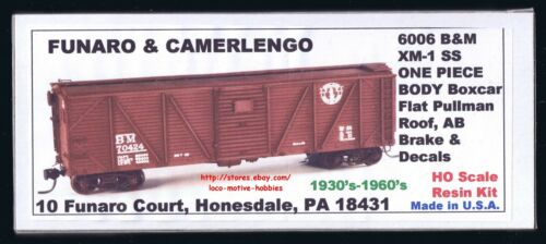 Funaro F/&C 6006 1930/'s  BOSTON /& MAINE  B/&M BM  40/' XM-1 Wood Boxcar  ONE PIECE
