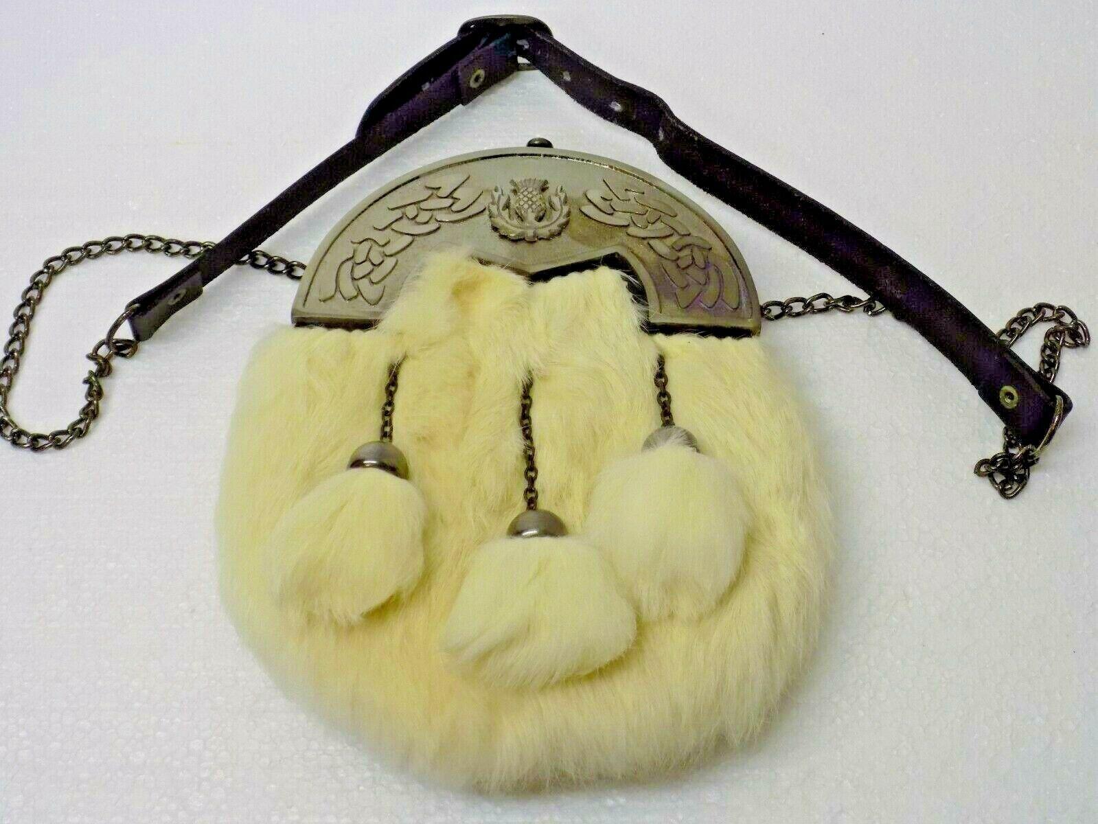 Celtic & Thistle Cantle White Rabbit Kilt Sporran & Chains