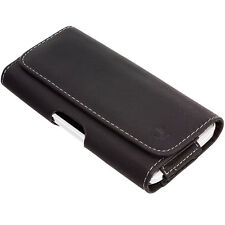 For iPhone 5 5S 5C Belt Clip Pouch Leather Flip Case Holster Black