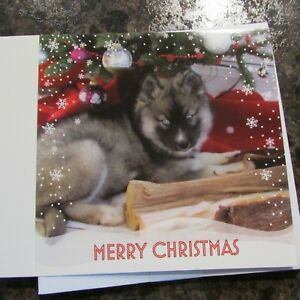 Husky Christmas Cards.Details About Siberian Husky Puppy Christmas Cards W Envelopes
