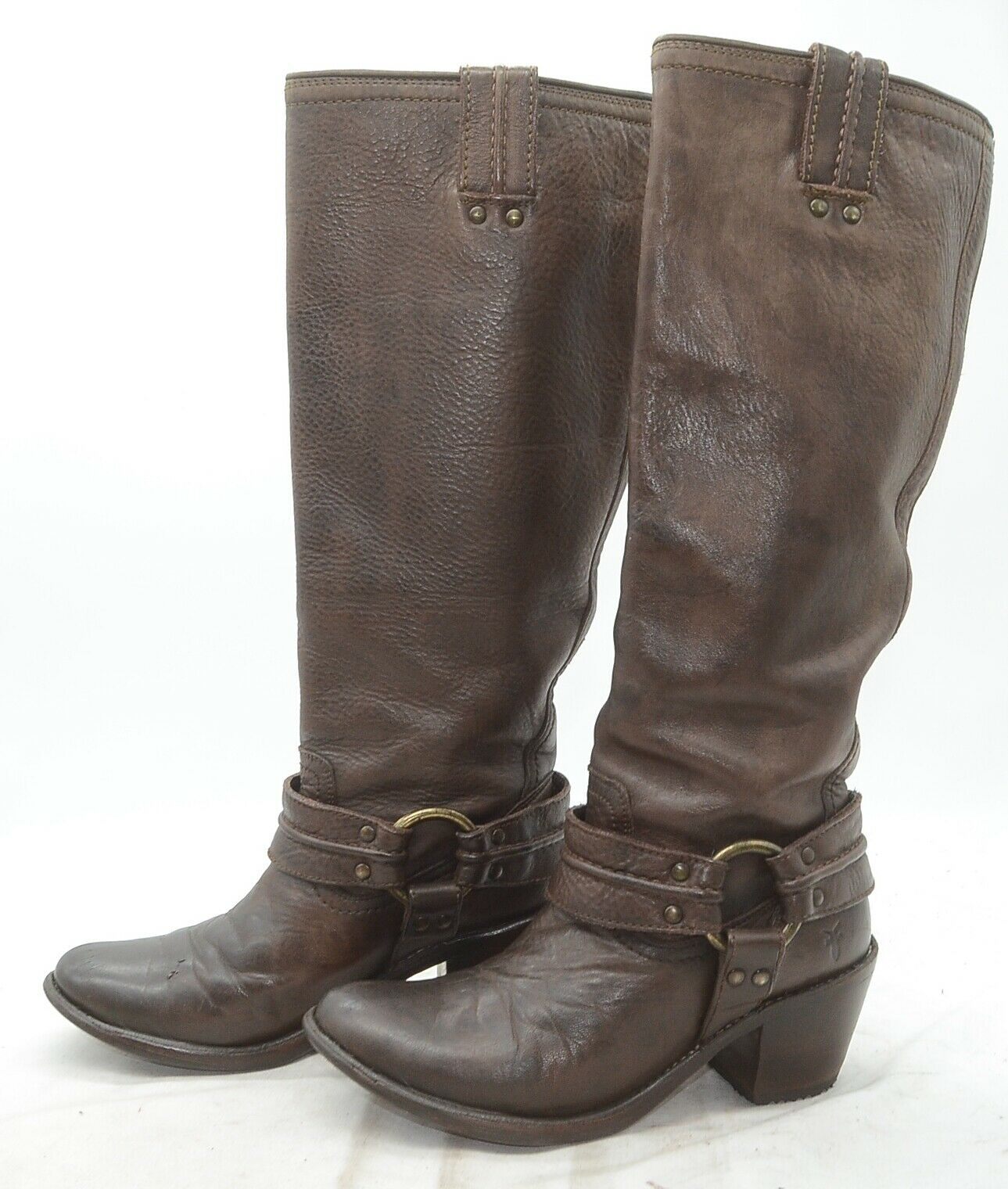 Frye Carmen Tall Harness Brown Slouch High Heel Riding Boots Womens Sz 6