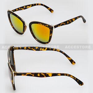 Tortoise Frame Fashion Retro Cat Eye Designer Sunglasses Orange Mirror Lens UV