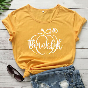 Thankful-Pumpkin-T-Shirt-Autumn-Women-Graphic-Thanksgiving-Holiday-Tee-Shirt-Top