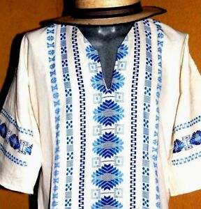8b49df991c Image is loading Mexican-Men-Ivory-Guayabera-Casual-Shirt-Summer-Sport-