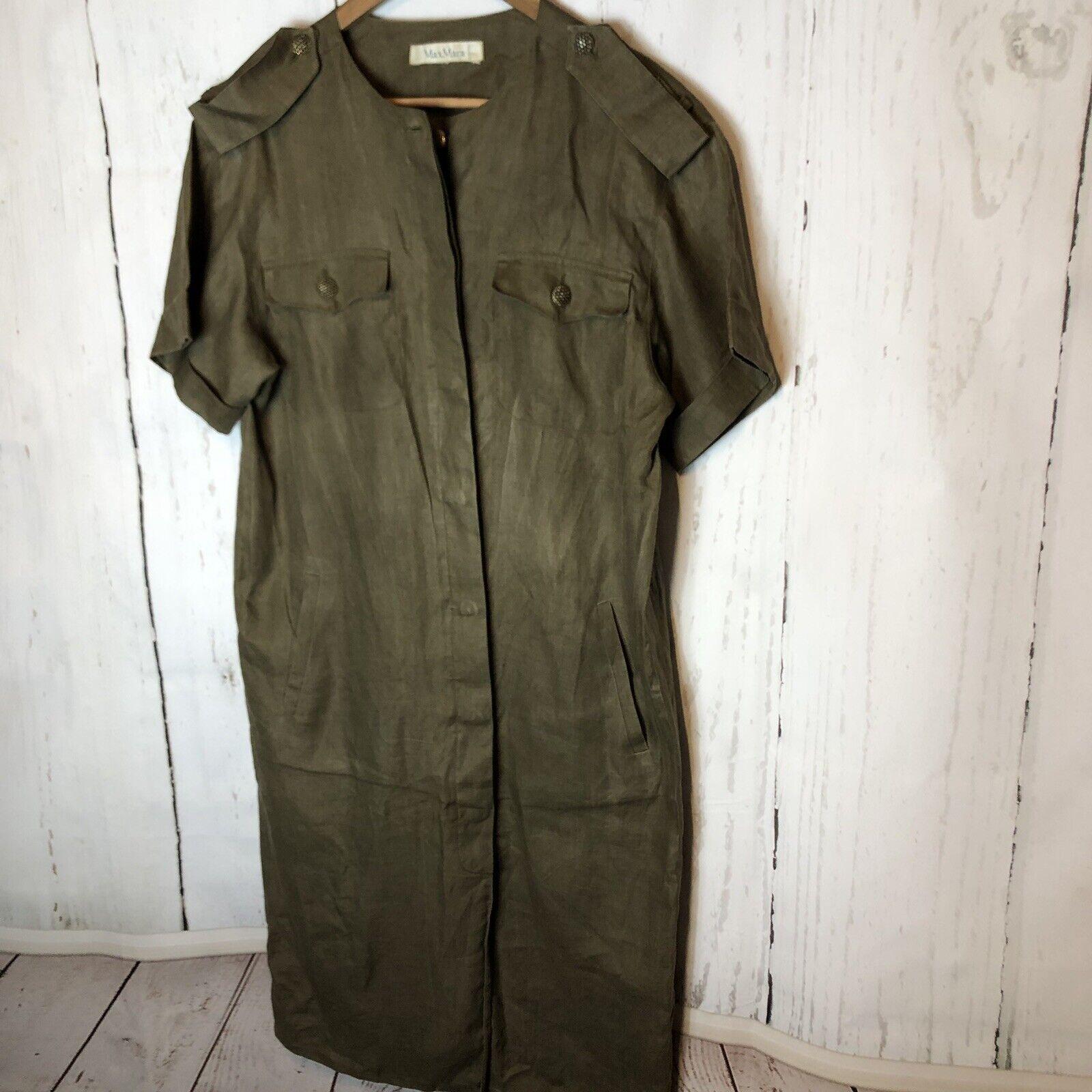 Max Mara damen Linen Shirt Dress Army Grün  Military Gold Buttons  10 12 LG