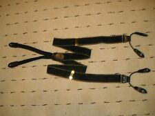 Cole Haan Silk Suspenders/ Braces Black Green Tan Stripe Design