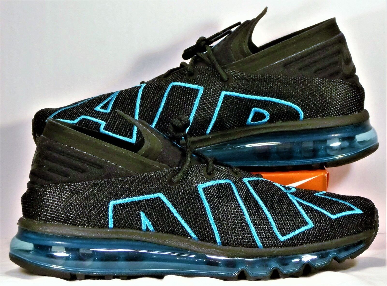 Nike Air Max Flair Black & Neo Turquoise Running shoes Sz 11 NEW 942236 010