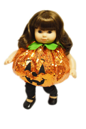 Sequin Pumpkin Costume for Bitty Twin Bitty Baby Dolls 15 Inch Doll Clothes