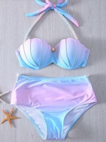 Padded Hard Roll Shell Bikini Tie Dye Printed Pearl Halter Bra+Bottom 2Style
