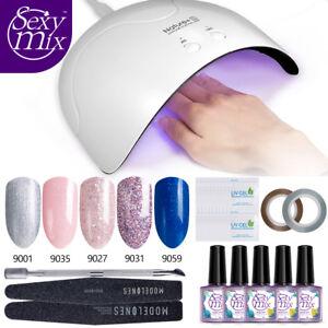 Sexymix-9ML-Set-5-Color-Esmaltes-de-unas-en-gel-16W-UV-LED-Lampara-Herramientas
