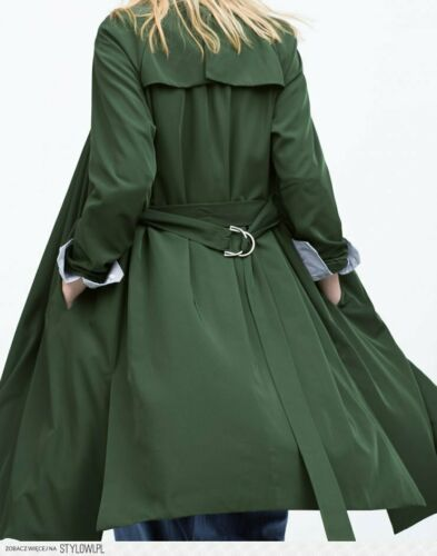 Details about  /ZARA Silky Flowing Draped Trench Coat Belt Striped Lining Dark Green 8073//024 XS