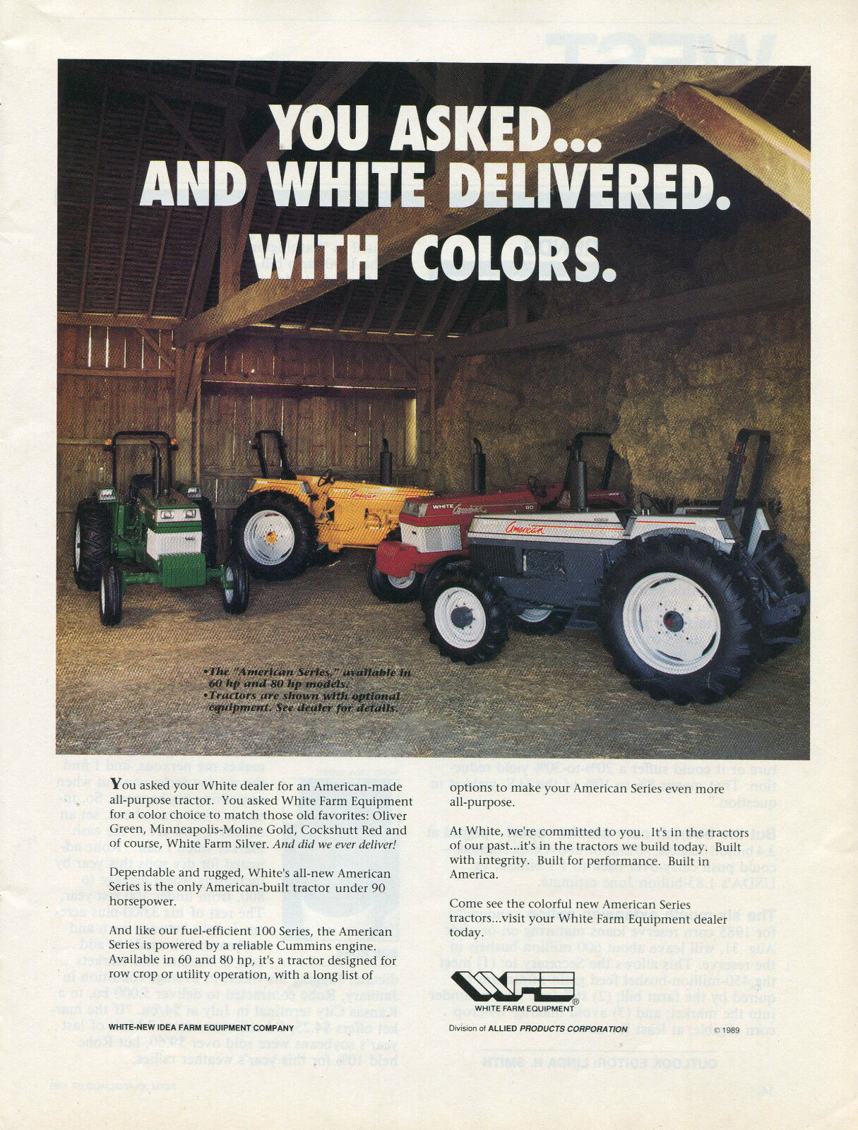 1989 White American Series 80 Tractor Ad Oliver Green Minneapolis Moline Gold