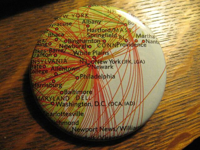 Delta Airlines New York USA Airplane Route Map Advertisement Pocket Mirror