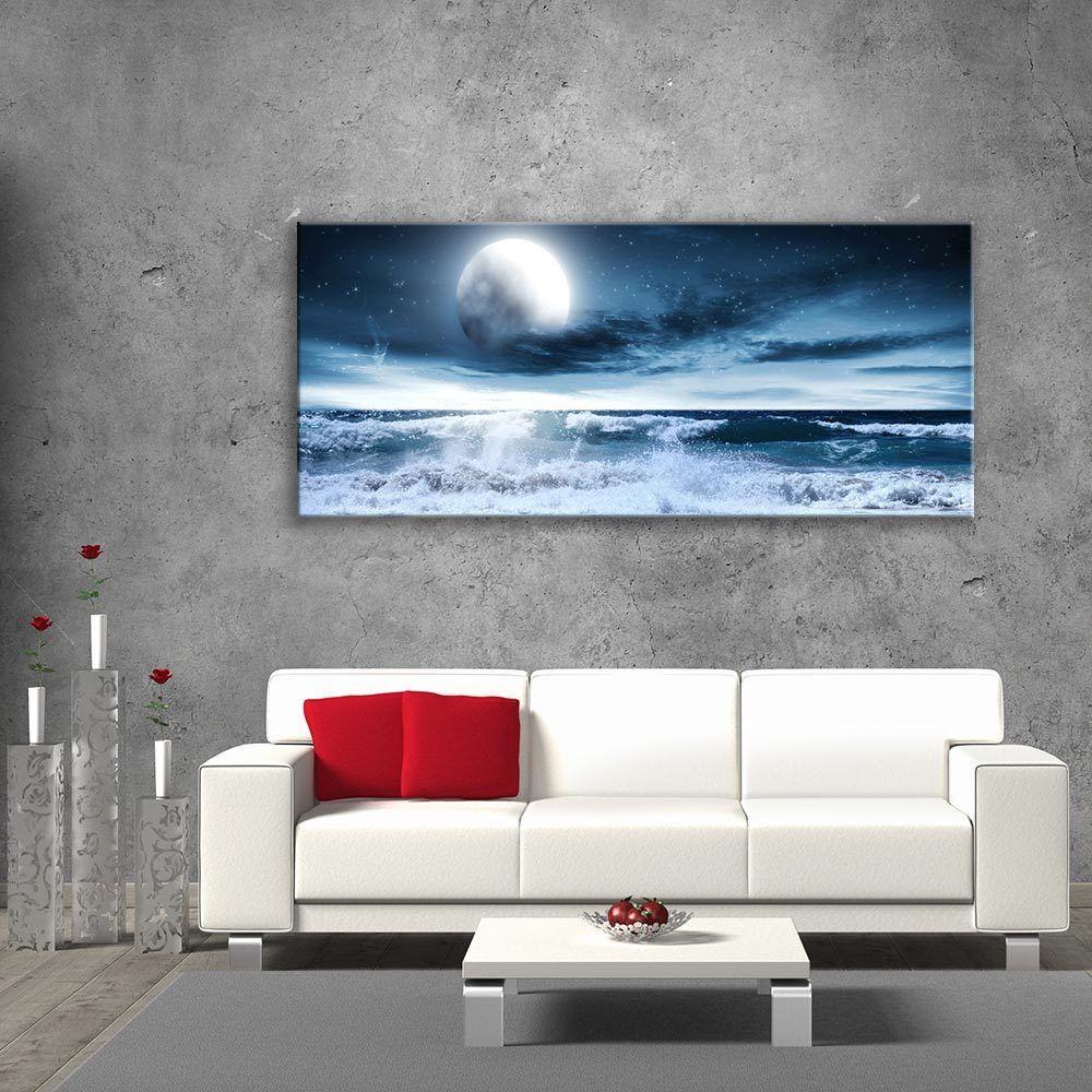 Wall Art Glass Print Picture Unique Home Decor Sea Full Moon Gift cm 125x50