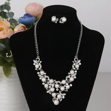 Siver Gorgeous Rhinestone Crystal Necklace Earrings Jewelry Set Bridal Prom