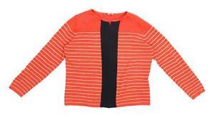 Per-Una-Womens-Size-14-Striped-Cotton-Blend-Multi-Coloured-Top-Regular