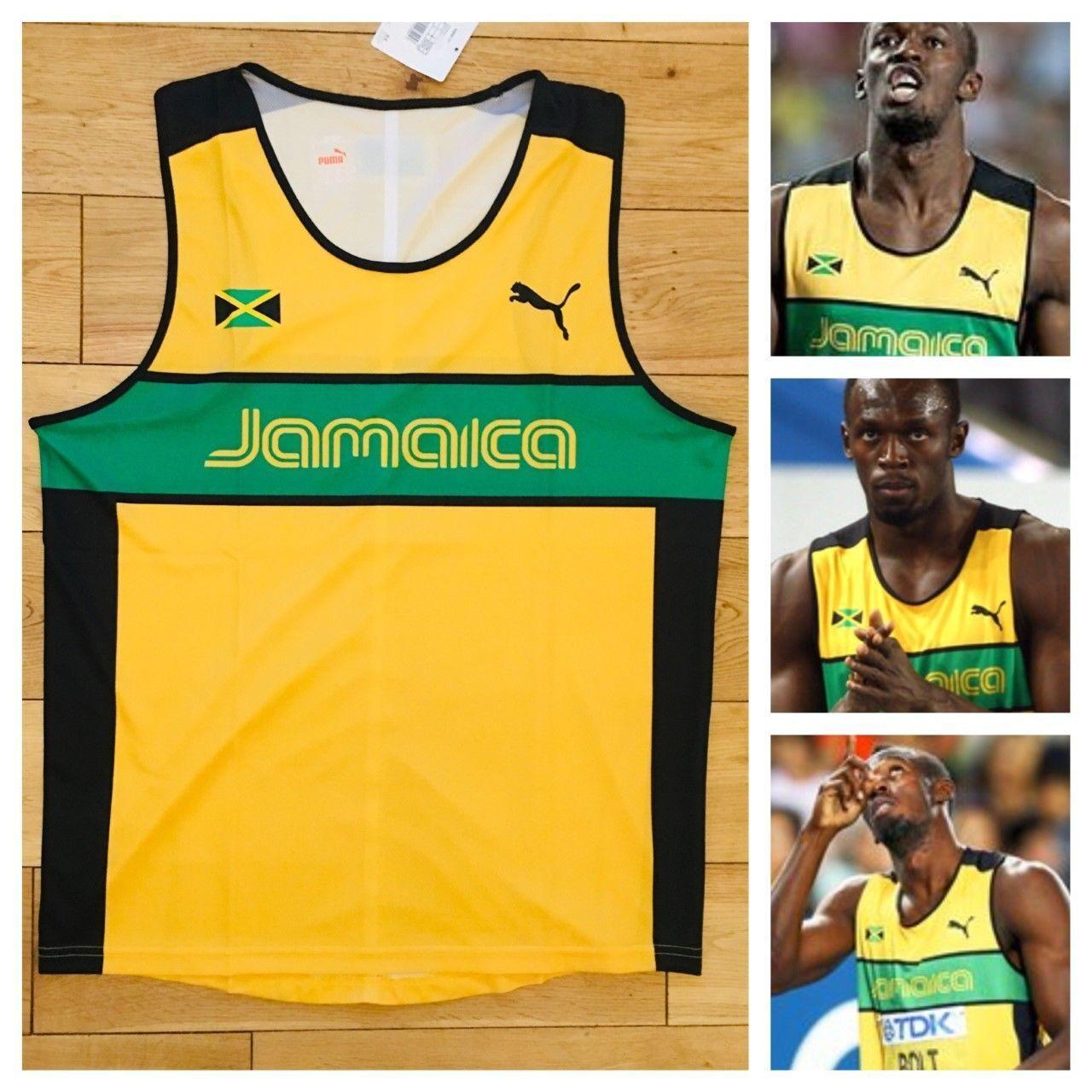 Puma Jamaica Men's Pro Elite 2011 Running Singlet Vest Top Usain Bolt New Rare