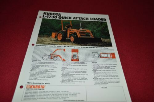 Kubota L-1730 Quick Attach Loader Dealers Brochure DCPA2