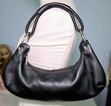 CLARKS Black Pebbled Leather Hobo PURSE Shoulder Bag Fashion Handbag Indigo NICE