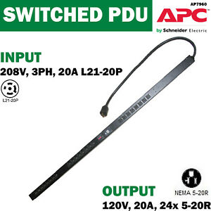 APC-AP7960-Rack-PDU-Switched-ZeroU-5-7kW-208V-3PH-L21-20P-Out-120V-24x5-20