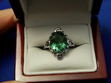 4.01ct Oval Moldavite Sterling Silver Free Form Ring Ladies,Free Sizing