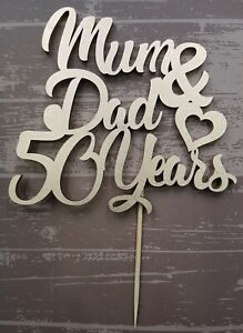 MUM-amp-DAD-anniversary-cake-topper-any-colour-any-number-of-years-WOODEN