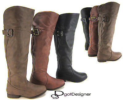 NEW Women's Fashion Shoes Knee High Boots Over Knee Motorcycle Riding Military