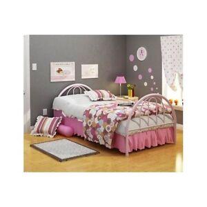 Twin Bed Frame For Kids Girls Headboard Footboard Metal Pink Bedroom