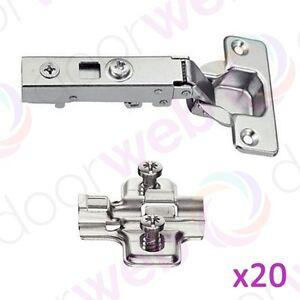 20 x SOFT CLOSE DOOR HINGES Kitchen Bedroom Wardrobe Cupboard Cabinet Doors