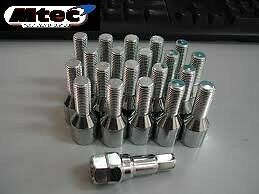 20x Alloy Wheel Tuner Extended Bolts M12x1.5 BMW E46 M3 ETC 50mm Thread Length